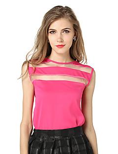 Women's Pure Color Large Size Stitching Transparent Chiffon Sleeveless Vest T-Shirt