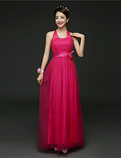 Ankle-length Satin / Tulle Bridesmaid Dress A-line Halter with Flower(s) / Sash / Ribbon