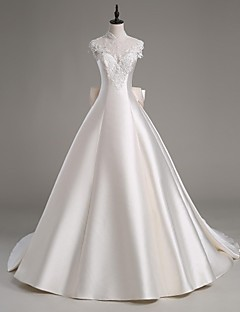 Lanting Bride A-line Wedding Dress-Cathedral Train High Neck Satin / Tulle