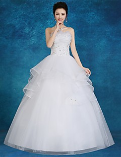 De Baile Vestido de Noiva Longo Tomara que Caia Cetim / Tule com Com Apliques / Renda