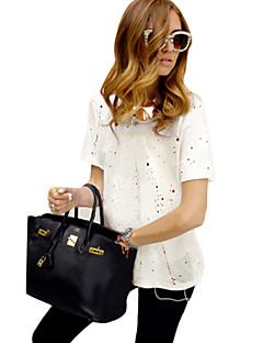 婦人向け カジュアル/普段着 夏 Tシャツ,シンプル Vネック プリント ホワイト / ブラック / グレイ コットン 半袖 スモーキー