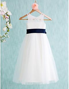 Lanting Bride A-Linie Tee-Länge Blumenmädchenkleid - Spitze / Tüll Ohne Ärmel Schmuck mit
