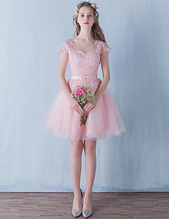 Short / Mini Tulle Bridesmaid Dress A-line Jewel with Bow(s) / Lace
