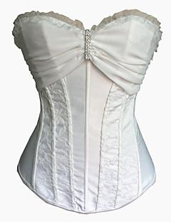 Ženy Korzet pod prsa / Korzet / Větší velikosti Noční prádlo Sexy / Push-up podprsenky / Tisk / Retro Jednobarevné-Nylon / PolyesterBílá