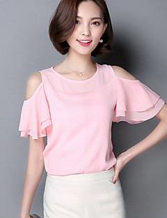 Women's Solid Pink / White / Green Blouse,Round Neck Short Sleeve