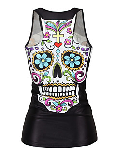 Women's Sports Sexy / Active Summer Tanks,Print U Neck Sleeveless Black Polyester Medium