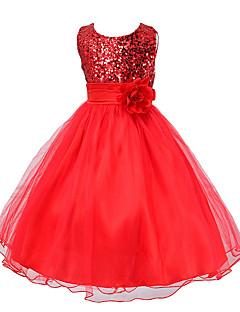 Dívka je Léto Šaty Polyester Černá / Červená