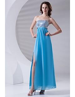 포멀 이브닝 드레스 시스 / 칼럼 끈없는 스타일 발목 길이 쉬폰 / 스팽글 와 스팽글