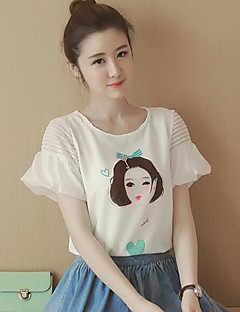 Women's Print Street chic Cute Chififon Loose Large Size All Match T-shirt,Round Neck Short Sleeve