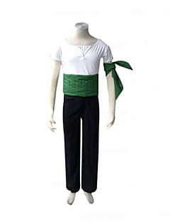 Inspired by One Piece Roronoa Zoro Anime Cosplay Costumes Cosplay Suits Patchwork White / Black / Green Short SleeveT-shirt / Pants /