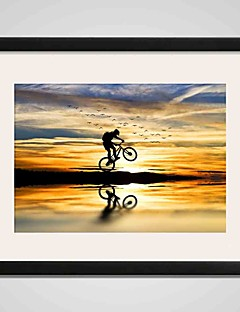 Framed  Riding A Bike by Beach Canvas Print Art 40x50cm Wall Art for Home Decoration Ready To Hang