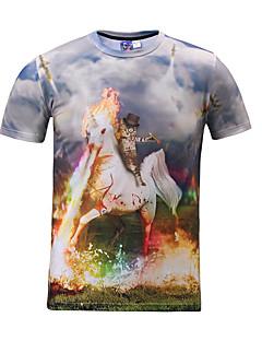 3D-T-Shirt Katze Einhorn Druck Cosplay Kostüme T-Shirt geeky Kleidung Rundhals kurzen Ärmeln für Männer / Frauen Reiten