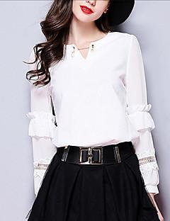 Langærmet Kvinders Udhulet V-hals Bluse Modal / Polyester