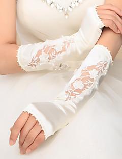 肘丈 フィンガーレス グローブ サテン ブライダル手袋 パーティー/イブニング手袋 春 秋 冬 アップリケ