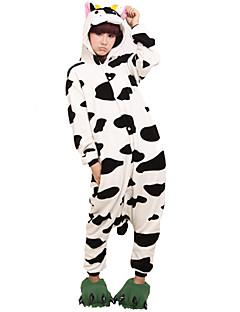 Kigurumi Pyjamas Ko Trikot/Heldragtskostumer Festival/Højtider Nattøj Med Dyr Halloween Sort hvid Dyremønster Koralfleece Kigurumi Til