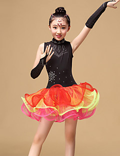 Latin Dance Dresses Children's Performance Tulle Draped 3 Pieces Dress Gloves