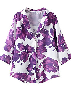 Women's Casual/Daily Simple Shirt,Print Notch Lapel Long Sleeve Purple Polyester Thin