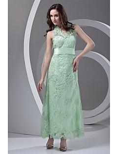 포멀 이브닝 드레스-세이지 시스/칼럼 발목 길이 홀터 넥 레이스