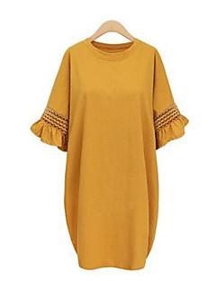 קיץ כותנה שחור / צהוב אורך חצי שרוול עד הברך צווארון עגול אחיד סגנון רחוב יום יומי\קז'ואל / מידות גדולות שמלה משוחרר נשים