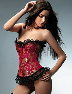 YUIYE® Women Sexy Lingerie Waist Training Corset Bustier Tops Shapewear Plus Size Black Red Overbust Corset S-6XL