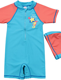 Baby Boy's Summer Swimming 2pcs/set Swimsuit with Hats /Zipper Front Short Sleeve Bathing Suit/UV Protection Swimwear