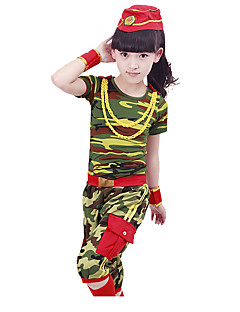 Optredens Outfits Kinderen Prestatie Katoen Patroon / Print 4-delig Korte Mouw Natuurlijk Broeken / Armbanden / BovenkledingTop:XS: 39cm