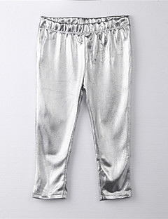 Girl's Solid Pants,Cotton All Seasons Silver