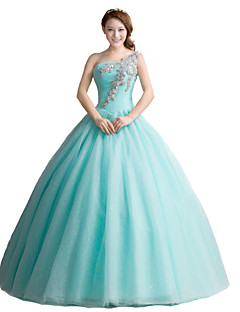 Formal Evening Dress Ball Gown One Shoulder Floor-length Tulle