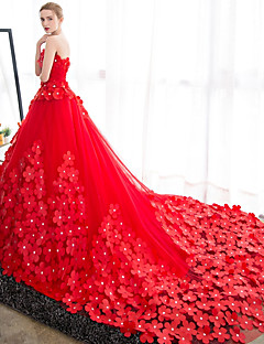 Ball Gown Wedding Dress Wedding Dress in Color Cathedral Train Strapless Satin Tulle with Flower