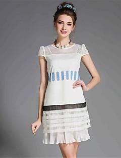 שמלת שרוול קצר תחרת חריץ קיץ אופנת aofuli נשים בתוספת טלאי גודל חלולים