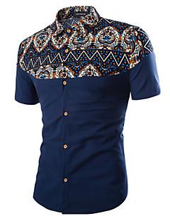 男性用 フラワー カジュアル / プラスサイズ シャツ,半袖 コットン / ポリエステル ブラック / ブルー / ベージュ