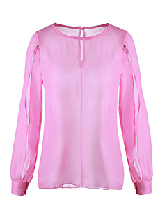 Women's Casual/Daily Sexy Spring / Summer / Fall Blouse,Solid Round Neck Long Sleeve Blue / Pink / Purple Medium