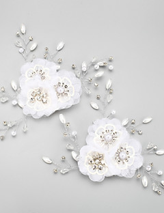 Women's Flower Girl's Rhinestone Alloy Chiffon Headpiece-Wedding Special Occasion Flowers 2 Pieces