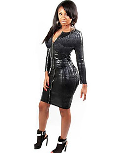 Women's Long Sleeve Sexy Slim PVC Dress Catsuit Clubwear
