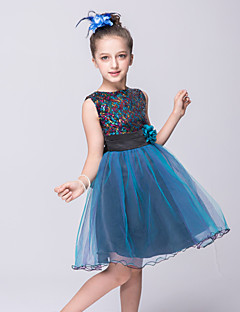 Girl's Blue / Brown Dress,Solid Polyester Summer