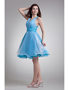 Cocktail Party Dress-Pool A-line V-neck Knee-length Organza