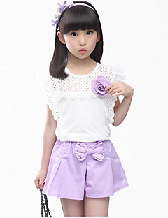 Girl's Blue / Pink Clothing Set,Floral / Lace Cotton Summer