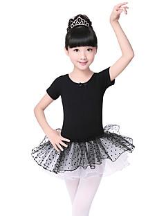 Balé Vestidos Crianças Algodão Laço 2 Peças Manga Curta Vestido Tiaras