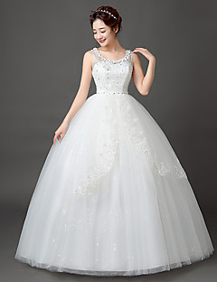 Ball Gown Wedding Dress Floor-length Scoop Lace / Satin / Tulle with Appliques