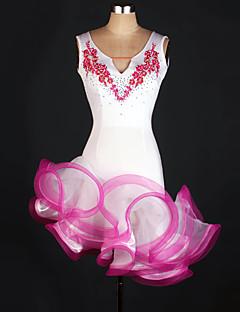 Latinské tance Trikoty Dámské Výkon elastan Nášivky Jeden díl Bez rukávů Přírodní Šaty