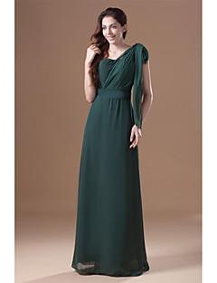 Tubinho Vestido Para Mãe dos Noivos - Elegante Longo Sem Mangas Chiffon - Faixa / Fita Pregas
