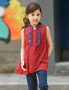 Girl's Red Shirt,Print Polyester Summer
