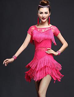 라틴 댄스 드레스 여성용 성능 친론 / 나일론 레이스 / 술 1개 짧은 소매 높음 드레스 M:80-84cm,L:82-86cm,XL:84-88cm