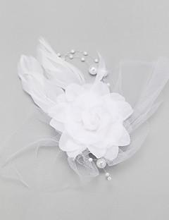 Mulheres / Menina das Flores Penas / Imitação de Pérola / Chifon Capacete-Casamento / Ocasião Especial Fascinador 1 Peça