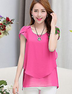 Women's Solid Blue / Pink / Black / Green Blouse,Round Neck Short Sleeve