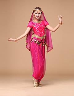 ריקוד בטן תלבושות בגדי ריקוד נשים ביצועים שיפון 2 חלקים שרוול קצר טבעי עליון מכנסיים