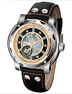 Heren Skeleton horloge Automatisch opwindmechanisme Waterbestendig Leer Band Polshorloge Zwart