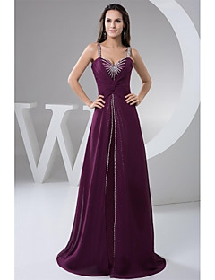 Formal Evening Dress A-line Straps Floor-length Chiffon with Beading / Pleats