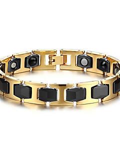 男性用 チェーン&リンクブレスレット ステンレス鋼 セラミック 磁気アクセサリー ゴールドとブラック ジュエリー 1個