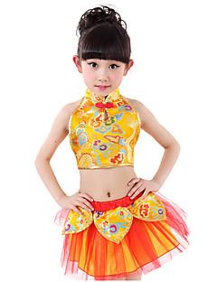 Optredens Outfits Kinderen Prestatie Matte Satijn Borduurwerk / Lagen 2-delig Mouwloos Laag Rok / BovenkledingTop:XS:26cm(100-110cm)